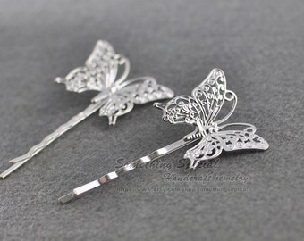 Butterfly hair pin Butterfly hair clip Silver Butterfly Hair clip Natural Woodland wedding Bridal Hair Accssories Bridesmaid Gift for her