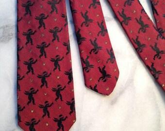 60s Skinny Necktie - 'Racy' Cupid print