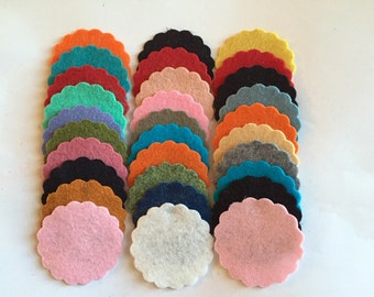 Wool Felt Scallops 30 1 3/4inch in Random Colored 2535 - scallop die cuts - headband supplies - scallop circle die cut