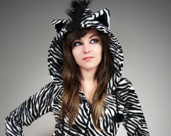 Hoodie Zebra Ears Mohawk Animal Fur Lolita Kawaii