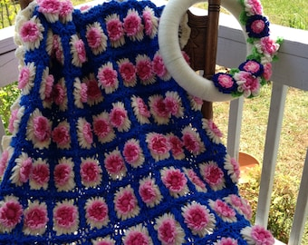 Heirloom Handmade Crochet Wool Afghan and Matching Floral Yarn Wreath - Think Mother's Day