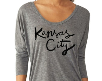 Kansas City T-Shirt - Black on Jersey Gray - Large