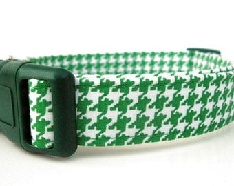 St. Patrick's Kelly Green Houndstooth Dog Collar