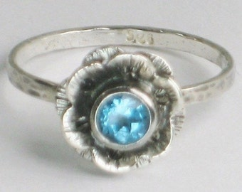 Sterling Blue Topaz Flower Ring Sterling Silver Stacking 6 Petals Hand Crafted