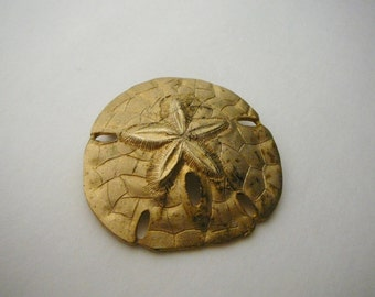 Large vintage Metal Sand Dollar Brooch pin gold tone