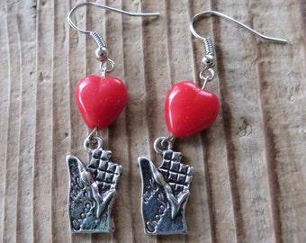 Sweet Love Chocolate Charm and Red Heart Bead Earrings