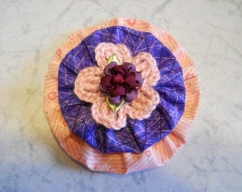 Fabric Flower in Pink and Purple Fabric with a Crochet Pink Flower and Ribbon Roses