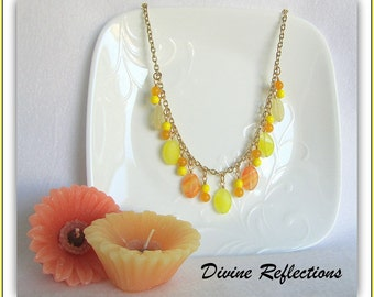 Yellow Statement Bib Necklace,Yellow Statement Necklace,Yellow Bib Necklace