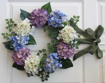 Spring Wreath, Summer Wreath, Hydrangeas Wreath, Outdoor Summer Wreath, Front Door Wreath, Spring Wreaths for Front Door
