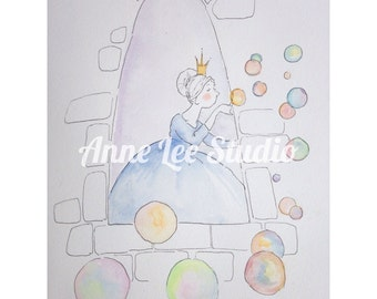 "Original watercolor painting, 9 x 12"" unframed children's girl wall art illustration, fairy tale princess nursery decor original art"