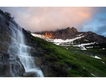 Glacier National Park, Nature, Photo, Print, Landscape Photography, Waterfall, Fine Art, Garden Wall, Montana, Sun Road, Home, Decor, Gift