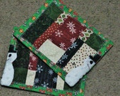 Set of two Christmas / Snowman Quilted Mug Rugs