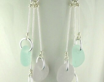 Dangle Earrings Beach Earrings GENUINE Sea Glass Jewelry Eco Friendly Sterling Silver And Pastel Seaglass  Earrings Gift For Her