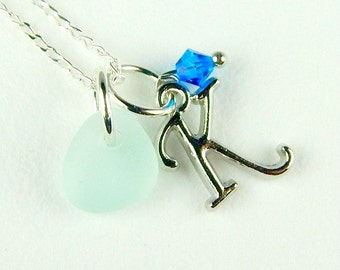 Choose Your Initial Necklace GENUINE Sea Glass Jewelry With Aqua Blue Seaglass