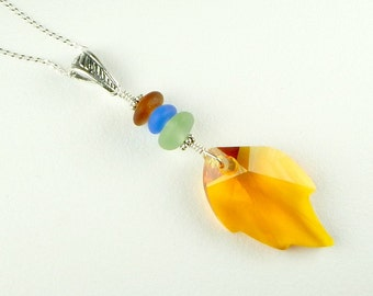 Genuine Sea Glass Jewelry Swarovski Element Leaf Necklace