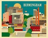 Birmingham AL Art Print, Birmingham AL Skyline Wall Art, Birmingham Map Print, Alabama Horizontal Art Loose Petals City Print style E8-O-BIR