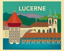 Lucerne Print, Lucerne Skyline, Switzerland Travel Poster, Lucerne Switzerland Art, Lucerne Art Print, Lucerne Print Gift, style E8-O-LUC