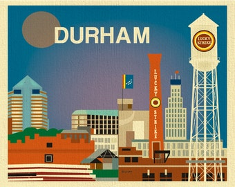 Durham Skyline Art Print,  Durham Poster, North Carolina Art Print, Durham wall art, Durham NC Map, Loose Petals horizontal art - E8-O-DUR