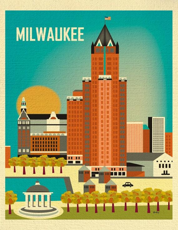 Milwaukee Skyline Art Print, Wisconsin Poster, Milwaukee Wall art, Milwaukee  Nursery, Milwaukee Wedding, Milwaukee Gift - style E8-O-MIL