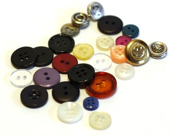Button Stash - 25 Mixed Assorted Buttons - Sewing Supplies - Destash - Vintage Buttons