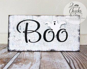 Boo Halloween Sign, Primitive Halloween Wall Decor, Ghost Sign