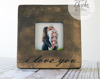 I Love You Picture Frame, Cottage Chic Frame, Great Wedding Gift, Valentine's Day Picture Frame