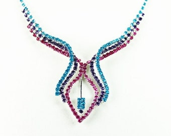 Painted Rhinestone Necklace Neon Fuchsia, Purple, Turquoise