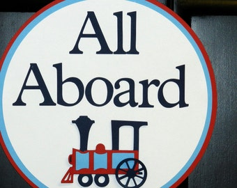All Aboard Choo Choo Train Door Sign in Red, Navy Blue, and White for Birthday or baby Shower