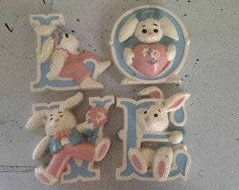 Vintage Burwood Bunnies, Vintage Nursery, Love Sign, Baby Valentine