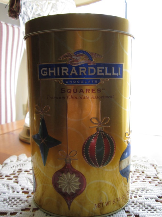 Ghirardelli Chocolate Squares Holiday Tin Canister - Christmas Tin - Collectibe Ghiradelli Tin