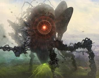 Intervention01 - Sci-fi / Concept Art / Alien / Apocalyptic - 4X10 Original Art Print