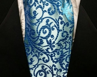Cravat, In A Pretty Teal With A Spiral Pattern or Ascot Mens Victorian Tie.