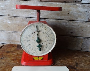 Vintage Red Metal Scale Chippy Shabby Chic