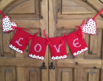Embroidered Valentine Banner