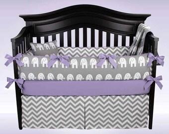 SALE! JAMIE 5 Piece Gray and White Elephant, Chevron Baby Bedding Set
