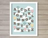 Nursery Alphabet ABCs Hot Air Balloon Printable Wall Art - 8x10 - Instant Download Baby Kids Children Baby Boy Room Decor Digital Printable