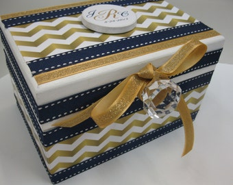 Newlywed Bridal Shower RECIPE BOX-Navy Blue and Gold