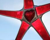 Garnet Heart star- German faceted glass heart center- 6 inches