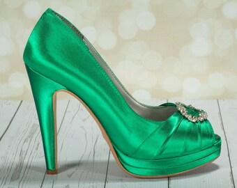 Emerald Green Wedding Shoes- Green Irish Wedding Platform Heels With Crystal - Choose From Over 100 Colors- Open Toe Platform Wedding Heels