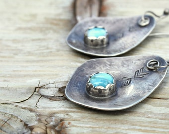 Larimar Tribal Earrings - Chevron Stamped Larimar Earrings - Boho Jewelry -- Sterling Silver Rustic Organic Stone Earrings