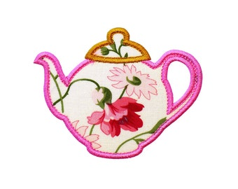 """Teapot Machine Embroidery Designs Applique Patterns in 6 sizes 3"""", 4"""", 5"""", 6"""", 7"""" and 8"""" perfect for a Tea Party"""