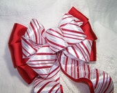 Red & White Satin Bow Christmas Candy Cane Wired Ribbon Handmade Wreath Holiday Decoration Gift Wedding Pew Bow