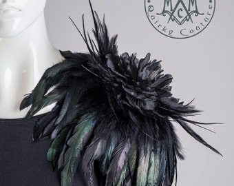 Shoulder corsage Feather flower epaulet with black feathers and huge flower brooch shoulder pad accessory
