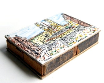 Antique Vintage Art Hand Painted Italian Tiles Double Sided Match Box - Vatican and Trinita - Rome Italy Souvenir - 4 inches x 3 inches