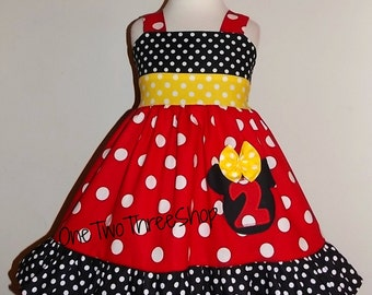 Custom Boutique Minnie Mouse Number Jumper Birthday Dress 12 Months to 6 Years