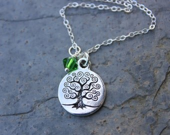 Celtic Tree of Life necklace - Fern Green Swarovski crystal or birthstone or pearl dangle, sterling silver chain - free shipping in USA