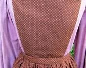 Handmade brown patterned pinner apron, pockets