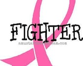 FIGHTER - Breast Cancer Awareness Vehicle Decal - Vinyl, Graphics, Lettering, Stickers