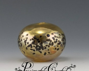 Gold Holiday Hollow Glass Bead