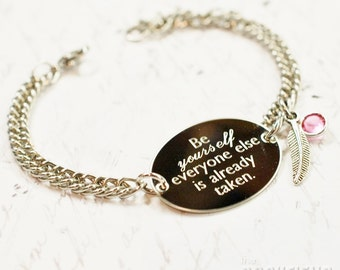 Be yourself Oscar Wilde quote oval bracelet, stainless steel with swarovski crystal or pearl